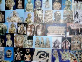 Fotos con muestros de los fragmentos de piezas en restauración