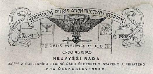 Знак Верховного совета Шотландского устава для Чехословакии, автор Альфонс Муха