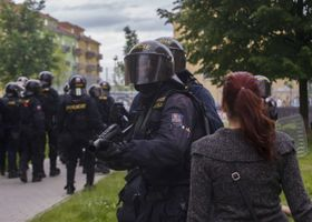 Riot police out in force in České Budějovice, June 29, 2013, photo: CTK
