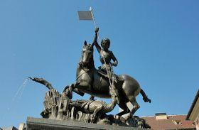 Скульптура - изображение Святого Георгия (Иржи) Победоносца