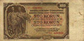 100 Kč nach der Währungsreform 1953