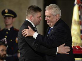 Robert Fico and Miloš Zeman, photo: ČTK