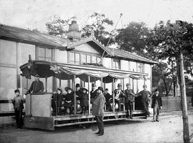The first electric tram in Prague, Fr. Křižík in front