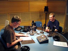 Jonathan Murphy (right) with David Vaughan in the studio