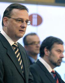 Petr Nečas, Miroslav Kalousek y Radek John, foto: ČTK