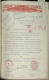 Vœux de la colonie tchèque de France au président du Conseil Aristide Briand le 12 janvier 1916, photo: Ministère des Affaires étrangères et européennes, Archives, Guerre 1914-1918