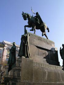 La estatua ecuestre del patrono de la nación checa San Venceslao
