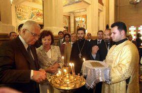 Vaclav Klaus in Voznensk's cathedral in Kazakhstan, photo: CTK