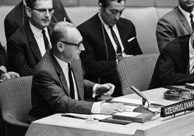 Jiří Hájek lors de son discours à l'ONU, photo: ONU