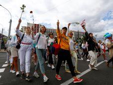 Protest proti vládě prezidenta Lukašenka v Minsku, foto: ČTK / AP Photo / Sergei Grits