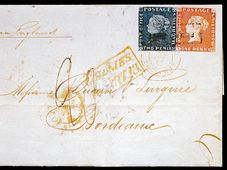 «Бордоский конверт» с голубым и розовым Маврикиями, Фото: открытый источник