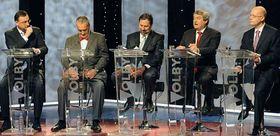 Petr Nečas (ODS), Karel Schwarzenberg (TOP 09), Radek John (VV), Vojtěch Filip (KSČM) y Bohuslav Sobotka (ČSSD), foto: ČTK