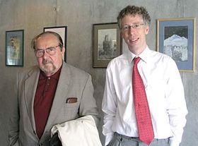 Ota Ulč (vlevo) při návštěvě Radia Praha