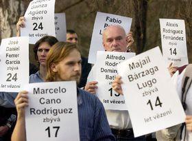 Manifestación pacífica frente a la embajada de Cuba en Praga, foto: CTK
