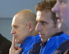 Fotbalový reprezentant Karel Poborský atrenér Sparty Praha Jaroslav Hřebík (vlevo), foto: ČTK