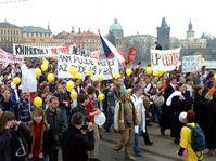 Protesty studentů a pedagogů, foto: ČTK