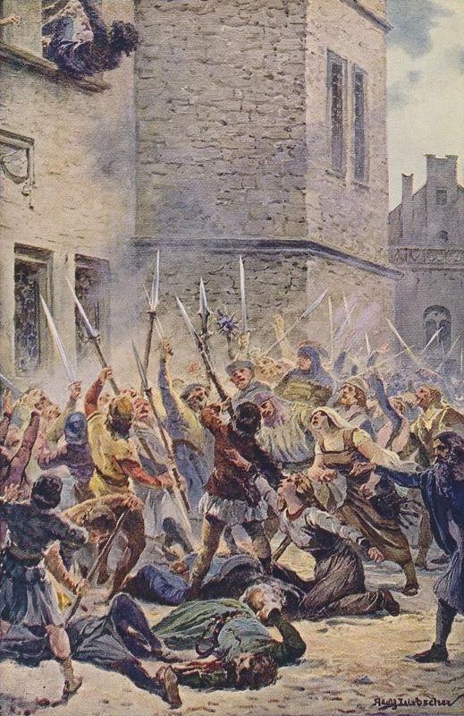 Первая Пражская дефенестрация. Полотно Адольфа Либшера (1857—1919) «Восстание у Новоместской ратуши 30 июля 1419 года»