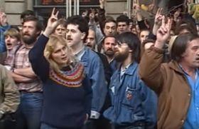 Proteste am 28. Oktober 1989 (Foto: Tschechisches Fernsehen)