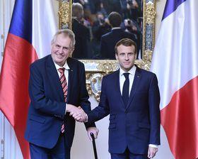 Emmanuel Macron avec le président tchèque Miloš Zeman, photo: ČTK/Vondrouš Roman