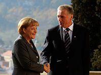 Angela Merkel y Mirek Topolánek (Foto: CTK)
