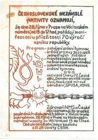Einladung zur Kundgebung am 28. Oktober 1988 (Foto: Archiv Paměť národa)