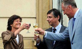 Catherine von Heidenstam with Jan Fischer and Mirek Topolánek (left to right), photo: CTK