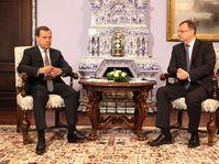 Dmitri Medvedev et Petr Nečas, photo: CTK