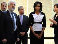 Leo Pavlát (Director of Jewish Museum), Michelle Obama, Michaela Sidenberg (left to right), photo: CTK