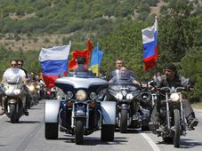 Vladimir Putin rides three wheeler, accompanied by the Night Wolves, photo: CTK