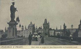 Открытка из Праги с мотивом Карлова моста