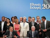 Leader of the New Democracy conservative party Antonis Samaras (bottom left) speaks during a press conference, photo: CTK