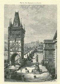 Old Town tower and the square of the Knights of the Cross in 1885