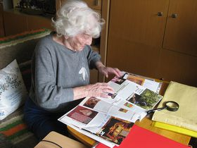 Lillian looks at articles written about her life