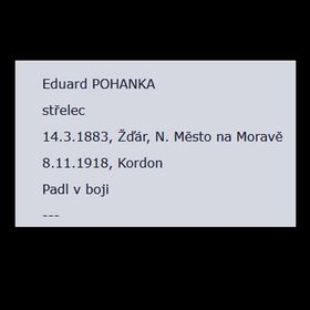 Record of death of Eduard Pohanka, photo: archive of Czech Military History Institute