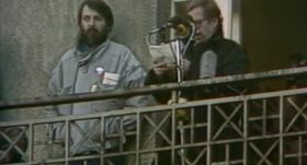 Václav Havel při svém projevu na balkoně Melantrichu, foto: ČT24