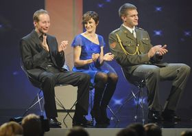 Lukáš Bauer, Martina Sáblíková, Ondřej Synek (left to right), photo: CTK