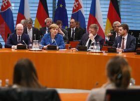 Bohuslav Sobotka, Angela Merkel, Robert Fico, foto: ČTK