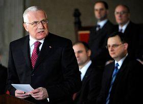 Prezident Václav Klaus při projevu, který pronesl ve Vladislavském sále Pražského hradu po složení prezidentského slibu, foto: ČTK
