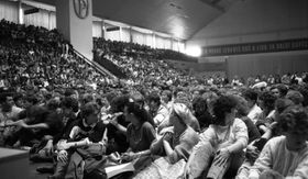 Students meeting at the Palacky University Sports Hall, photo: Michal Štosel