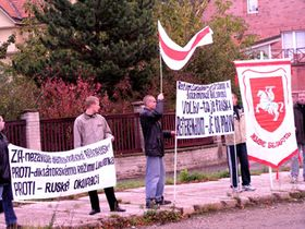 Перед зданием белорусского посольства в Праге (Фото: Ася Чеканова)
