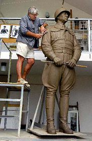 Jaroslav Bocker and the sculpture of General Patton, photo: CTK