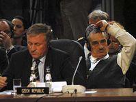 Mirek Topolánek (vlevo) a Karel Schwarzenberg na summitu NATO, foto: ČTK