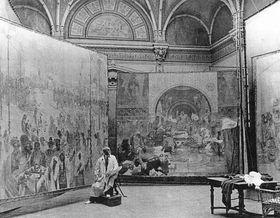 Mucha maloval Slovanskou epopej na zámku Zbiroh, foto: Wikimedia Commons, Public Domain