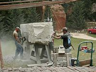 Radek Král (right) working on the Ark, photo: Mikulov Art Symposium