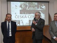Přemysl Pela, Czech Centres director Ondřej Černý, Miroslav Konvalina, photo: ČTK/Michal Krumphanzl