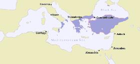 Mapa del Imperio bizantino en 867 d.C.