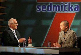 Vaclav Klaus en la TV Nova (Foto: CTK)