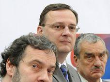 Zleva: Radek John, Petr Nečas a Karel Schwarzenberg, foto: ČTK