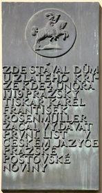 Gedenktafel am Haus, wo die erste Prager Postzeitung herausgegeben wurde (Foto: Matěj Baťha, Wikimedia Commons, CC BY-SA 3.0)