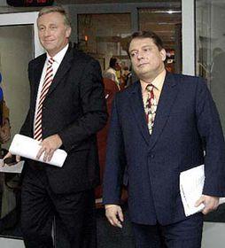 Šéf ODS Mirek Topolánek (vlevo) apremiér Jiří Paroubek, foto: ČTK